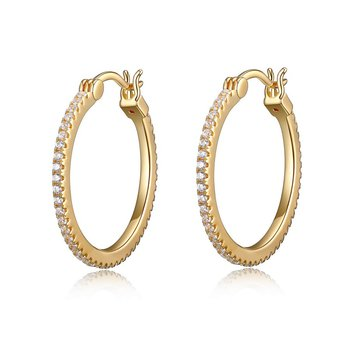"ELLE ""SPHERE"" 24MM CZ HOOP EARRING IN GOLD PLATING"
