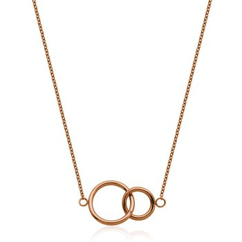 Double Circle Pendant - Rose Tone