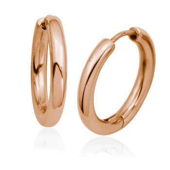 High Polished Huggie Hoops Rose Gold Tone