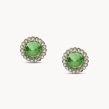 Green Stainless Steel Stud Earrings