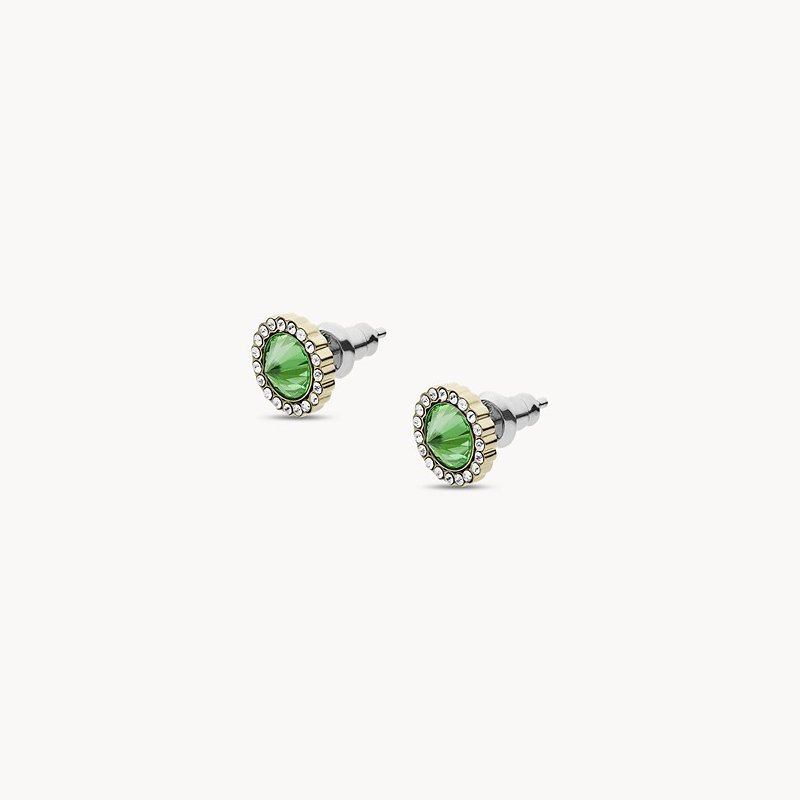 Fossil Green Stainless Steel Stud Earrings