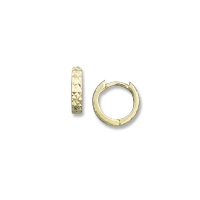 Tecimer Gold Jewellery Diamond Cut Huggies