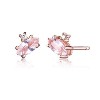 Morganite Earrings Rose Gold Tone