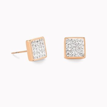 Earrings stainless steel rose gold & crystals pavé crystal