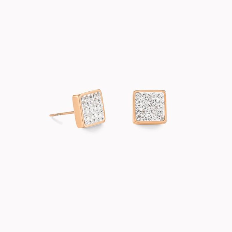Coeur De Lion Earrings stainless steel rose gold & crystals pavé crystal