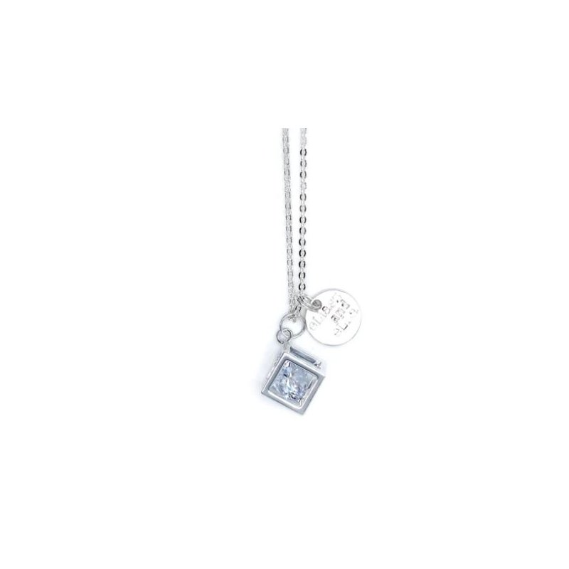 """eLiasz and eLLa """"Caged Diamond"""" in silver necklace"""