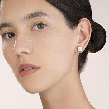Earrings square stainlees steel gold & crystal