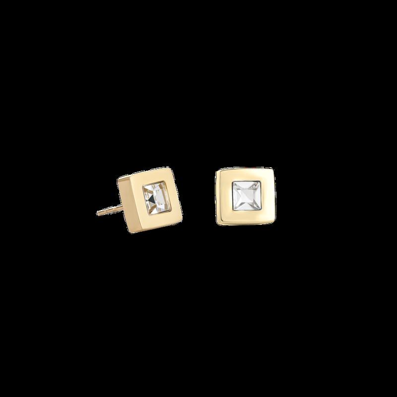 Coeur De Lion Earrings square stainlees steel gold & crystal