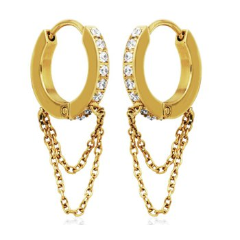 Gold Tone CZ Double Chain Huggie