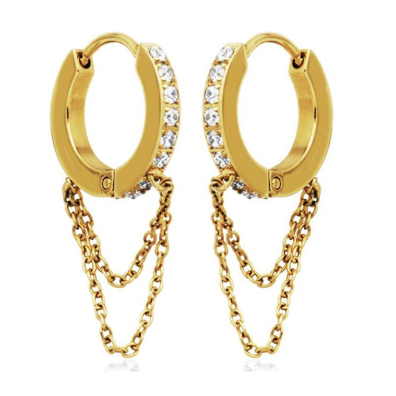 STEELX Gold Tone CZ Double Chain Huggie