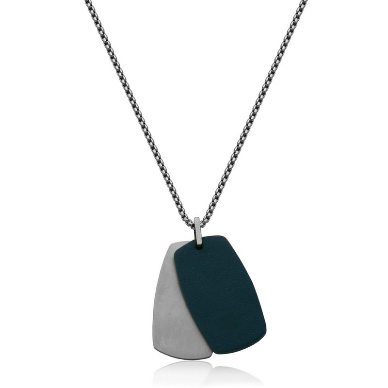 STEELX STEELX Genuine Blue Leather and High Polsihed Dog Tag. 24""
