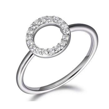 Rhodium CZ Circle Ring
