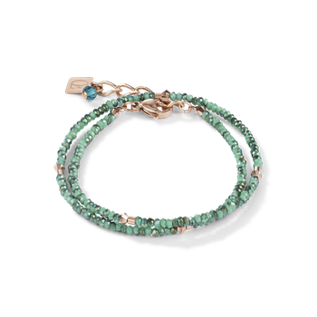 Bracelet small crystal rose gold & petrol