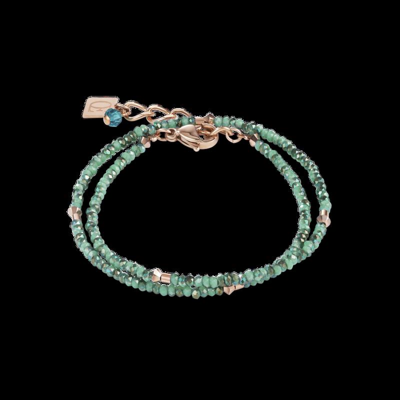 Coeur De Lion Bracelet small crystal rose gold & petrol