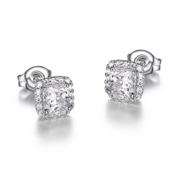 Princess Cut CZ Halo Stud
