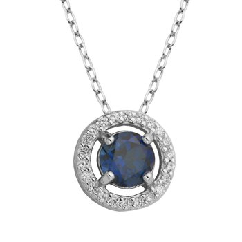 Birthstone Halo Pendant- September