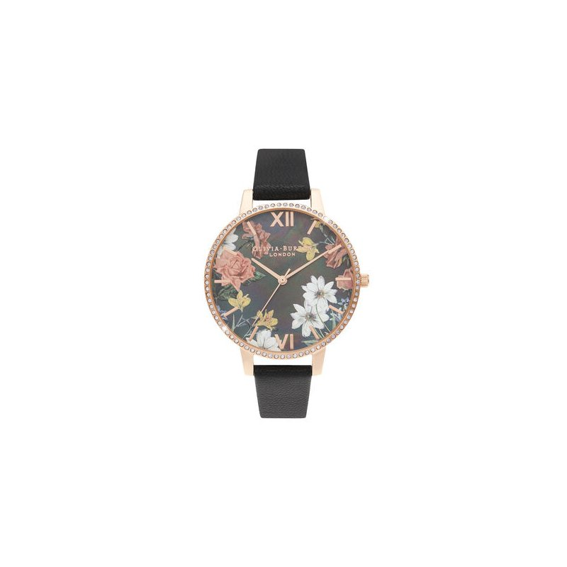 Olivia Burton Big Mother Of Pearl Dial Black & Rose Gold Watch