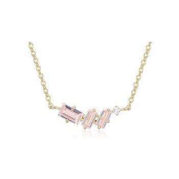 Three Stone Morganite Necklace