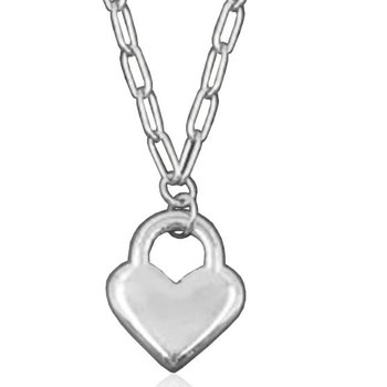 Silver Heart Lock Necklace