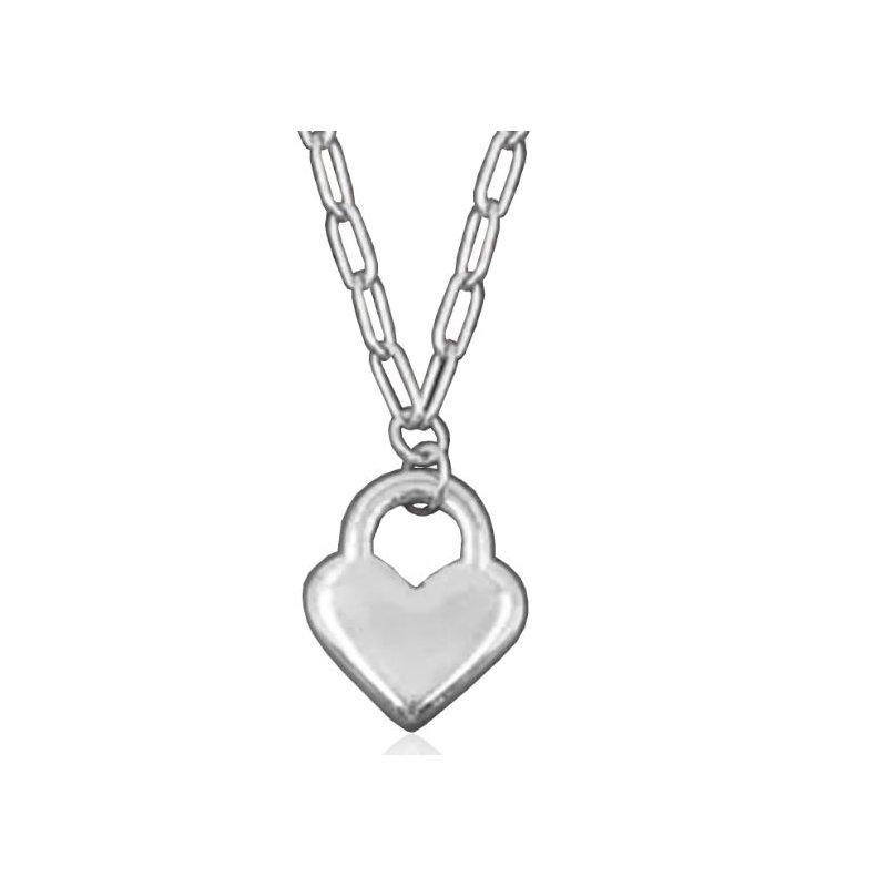 STEELX Silver Heart Lock Necklace