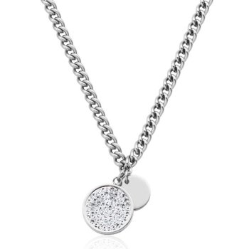 Stainless Steel Crystal Disc Necklace