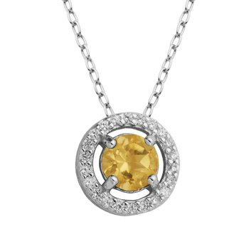 Birthstone Halo Pendant- November