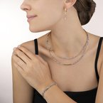 Coeur De Lion Necklace Waterfall small stainless steel gold & glass silver