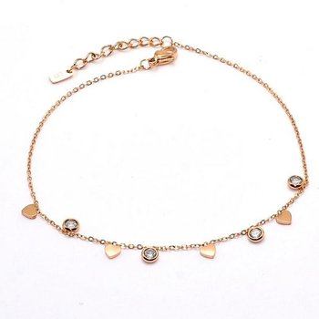 HEART AND CRYSTAL ANKLET