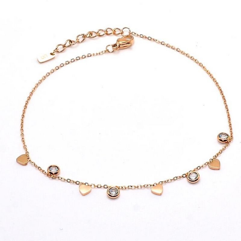 STEELX HEART AND CRYSTAL ANKLET