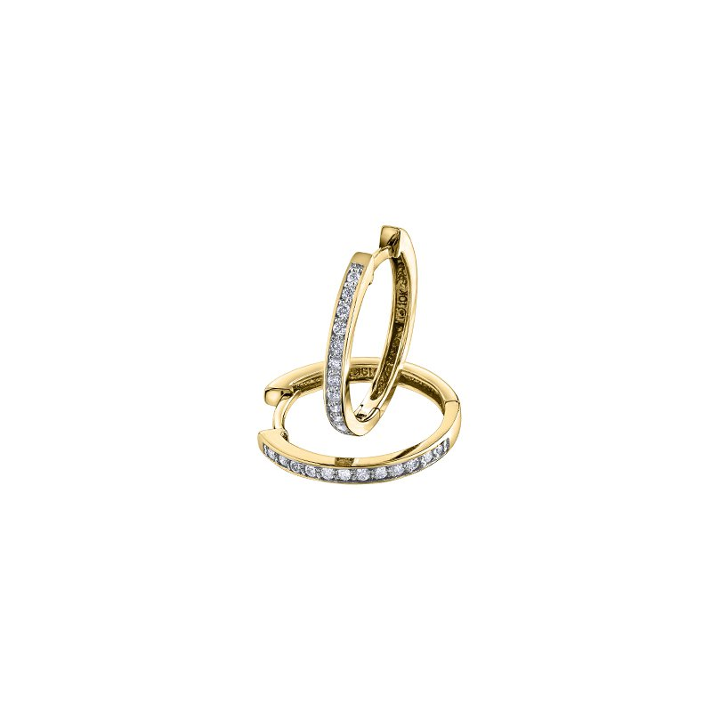 D of D Signature Gold & diamond huggie earrings