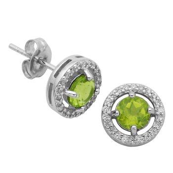 Birthstone Halo Earrings- August