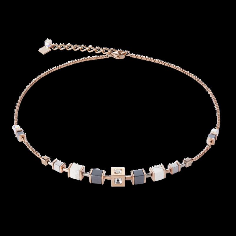 Coeur De Lion Necklace GeoCUBE® Cube & chain stainless steel & rose gold