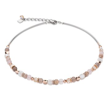 Coeur De Lion Swarovski Crystals Rose Quartz and Agate Beige Rose Necklace