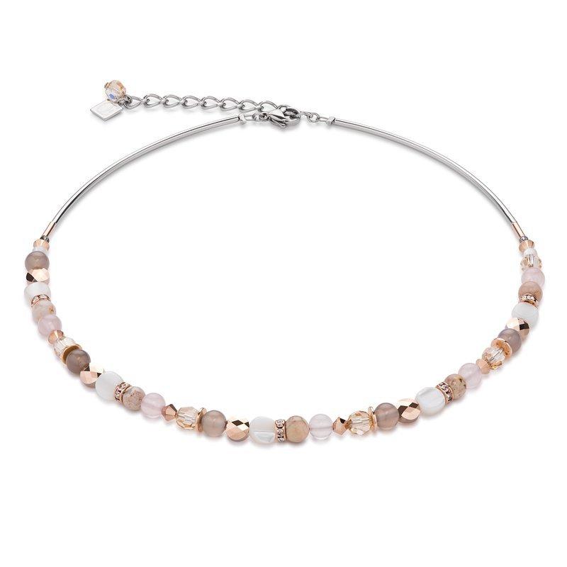 Coeur De Lion Coeur De Lion Swarovski Crystals Rose Quartz and Agate Beige Rose Necklace