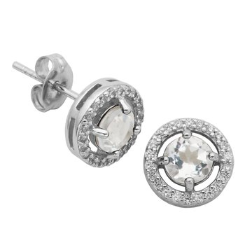 Birthstone Halo Earrings- April