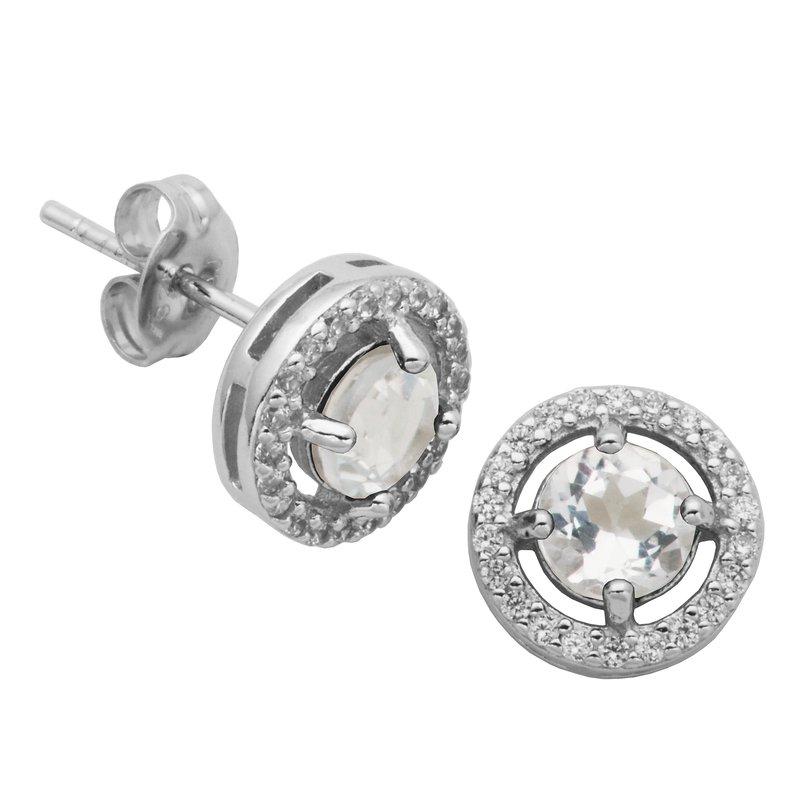Reign Birthstone Halo Earrings- April