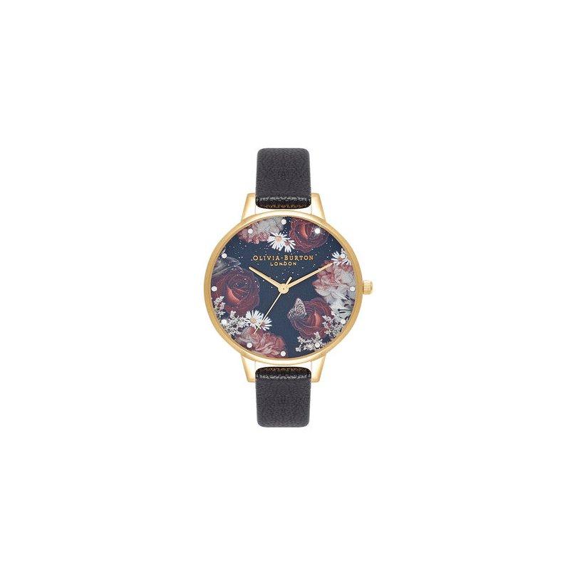 Olivia Burton Winter Blooms Demi Black & Gold Watch