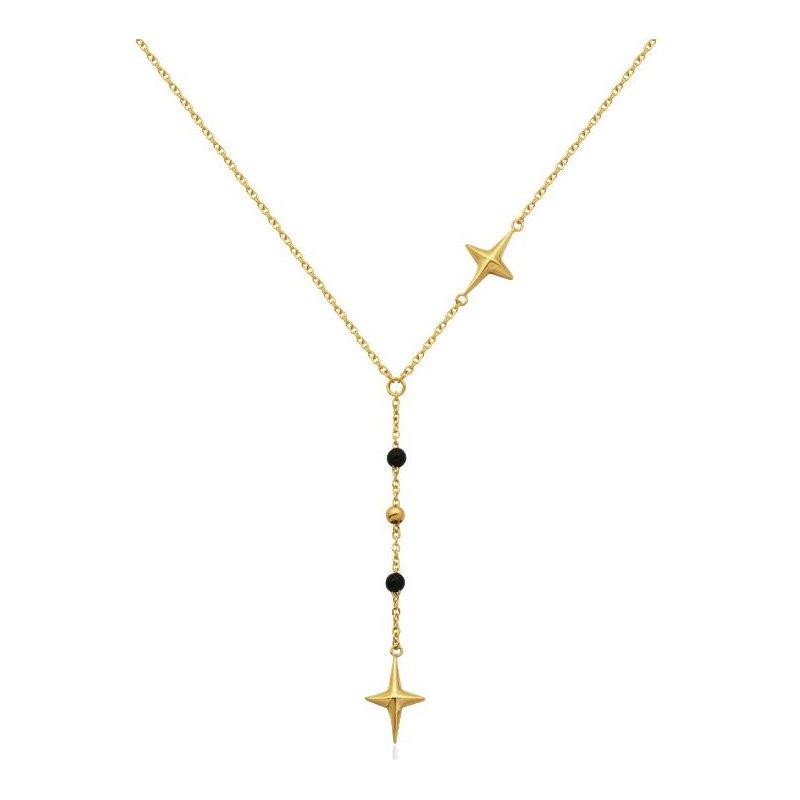 STEELX Black Bead Star Necklace