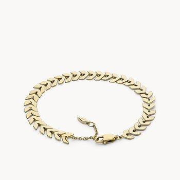 Gold-Tone Brass Chevron Bracelet