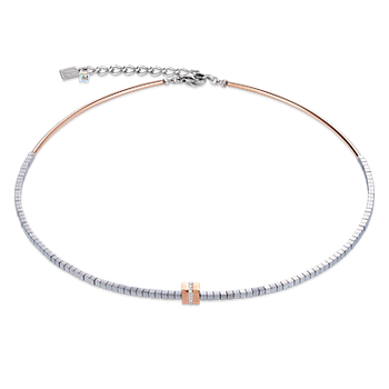 Necklace pavé, haematite silver rose gold-crystal