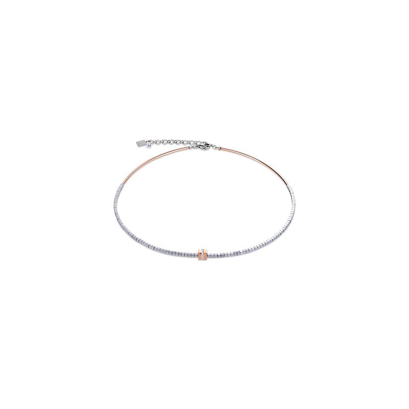 Coeur De Lion Necklace pavé, haematite silver rose gold-crystal