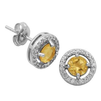 Birthstone Halo Earrings- November