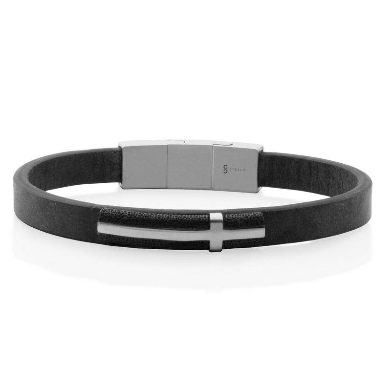 STEELX Black Leather Cross Bracelet