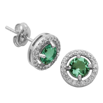 Birthstone Halo Earrings- May