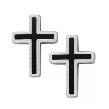 Black Cross Stud Earrings