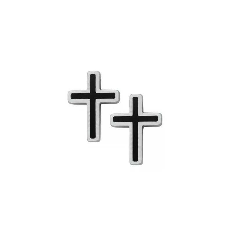 STEELX Black Cross Stud Earrings