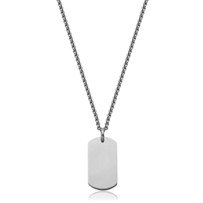 "STEELX STEELX ""Personlize Collection"" High Polished Dog Tag Necklacet. 22"""