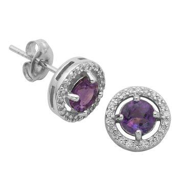 Birthstone Halo Earrings- February