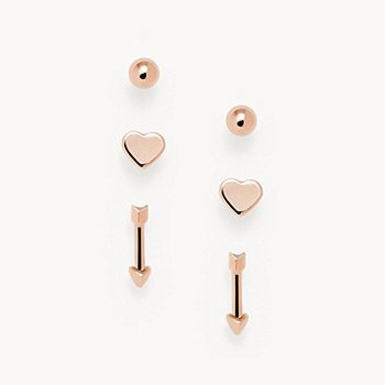 Rose Gold-Tone Brass Stud Earrings Set