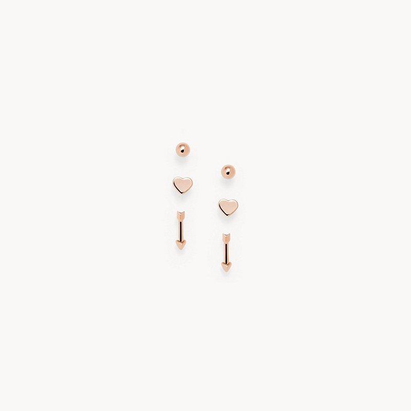 Fossil Rose Gold-Tone Brass Stud Earrings Set